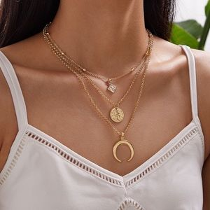 Jewelry - Dainty Boho Coin Charm Layered Necklace Gold